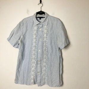 Banana republic embroidered linen blend s/s shirt